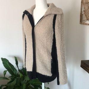 Anthro Sparrow wool & mohair fuzzy zip jacket